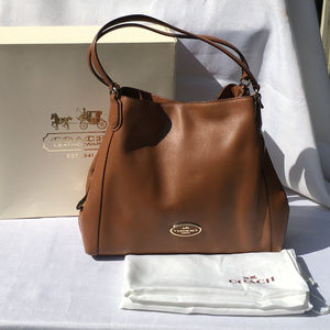 Coach Large EDIE Pebbled Leather Bag Saddle Brown